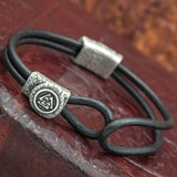 Silver plated Valknut Leather Hook Bracelet