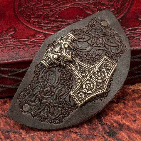 Leather Skane Mjolnir Hair Clip / Slide