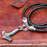 Forged Thor's Hammer on Thick Leather Cord