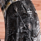 Odin with his Ravens and Wolves Carved Horn Tankard