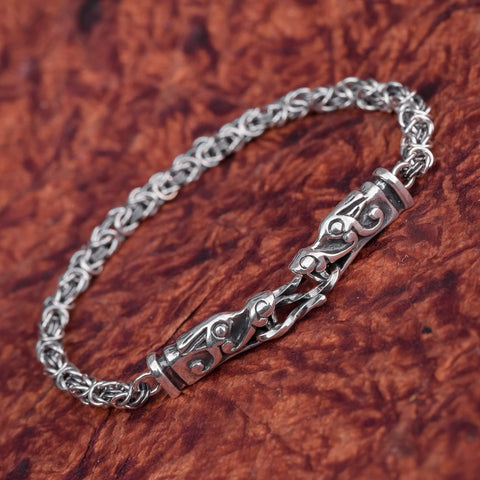 wolf beast form burg sterling silver viking bracelet uk