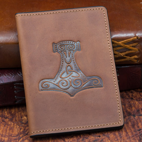 Thor's Hammer Passport Cover (Brown/Black)