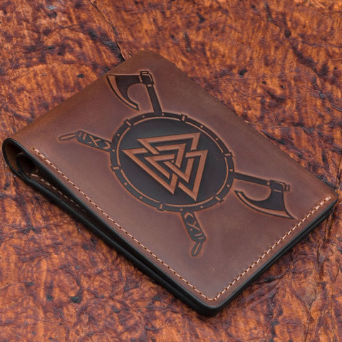 brown leather skullvikings viking valknut wallet gift uk