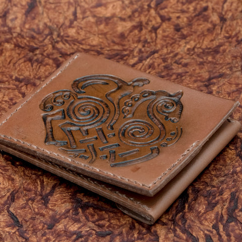 brown leather sleipnir oding viking norse larp larping wallet uk