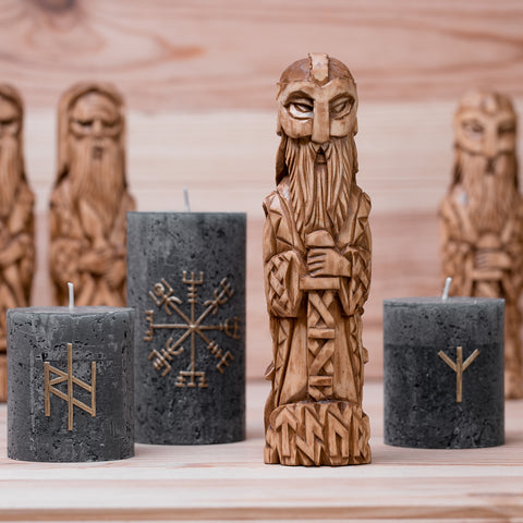 Tyr God Hand Carved Wood Statue (runes)