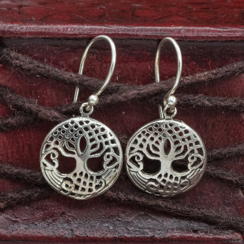 Small Sterling Silver Tree of Life (Yggdrasill) Earrings