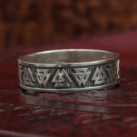 skullvikings 925 sterling silver valknut wedding ring band uk