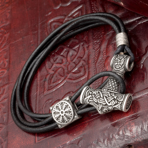 Silver Plated Thor's Hammer (Mjolnir) Leather Hook Bracelet