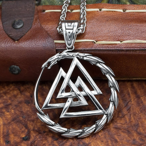 Jörmungandr Valknut Pendant and chain