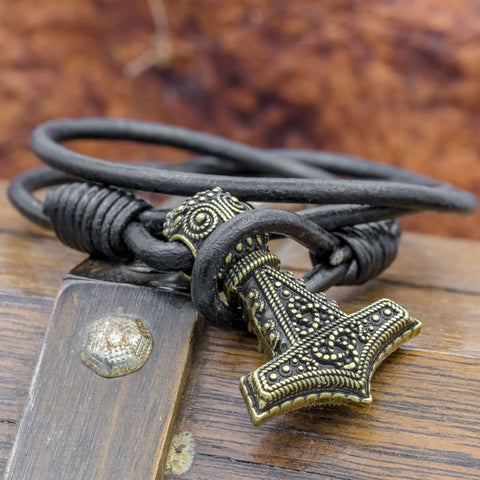 thors hammer mjolnir leather hook viking bracelet