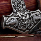thors hammer viking pendant with goats on a chain