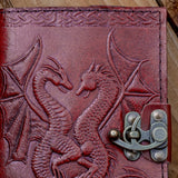 Handmade Leather Nidhogg and Fafnir Dragon Journal or Notebook