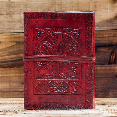 leather tree of life yggdrasill handmade journal notebook
