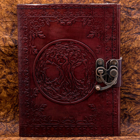 Viking Handmade Leather Tree of Life Yggdrasil Journal or Notebook