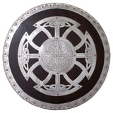 skullvikings viking round shield with steel fittings for reenactment display or larp