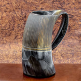 hand crafted natural viking drinking horn tankard mug