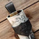 3 piece Set Drinking Horn (Regular) Black Dragon Holder