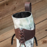 3 piece Full Set Drinking Horn (Large) Brown Holder