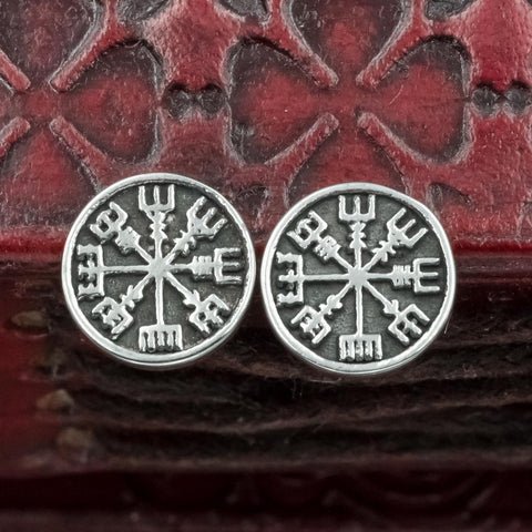 Stainless Steel Vegvisir Stud Earrings