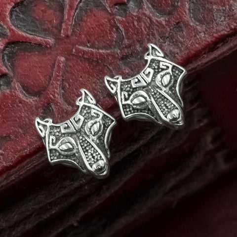 Stainless Steel Fenrir Stud Earrings