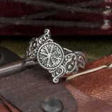 Sterling Silver Helm of Awe with Wolves Ring