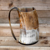 small hand crafted natural viking drinking horn tankard mug