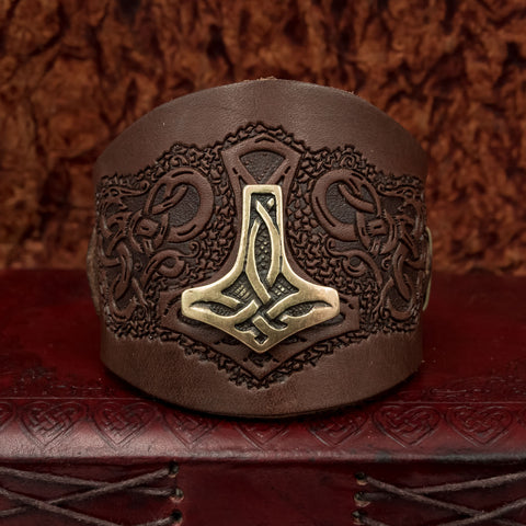 Brown Mjolnir Leather Wide Cuff