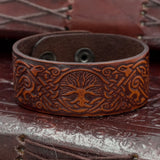 Ravens and Tree of Life Leather Bracelet/Cuff