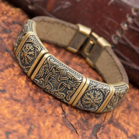 Bronze Tree of Life Mammen Charm Leather Cuff
