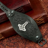 Black Mjolnir Leather Wide Cuff