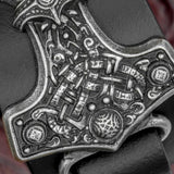 Thor's Hammer Black Leather Cuff