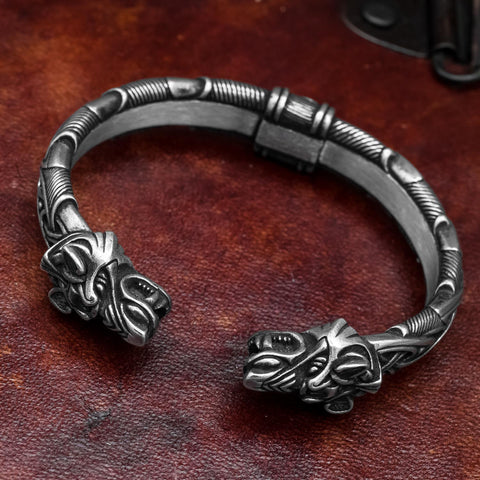 Heavy Sterling Silver Fenrir (Wolf Head) Arm Ring