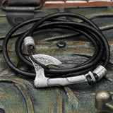Bearded Axe Black Leather Hook Bracelet