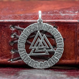 925 Sterling Silver Valknut and Runes