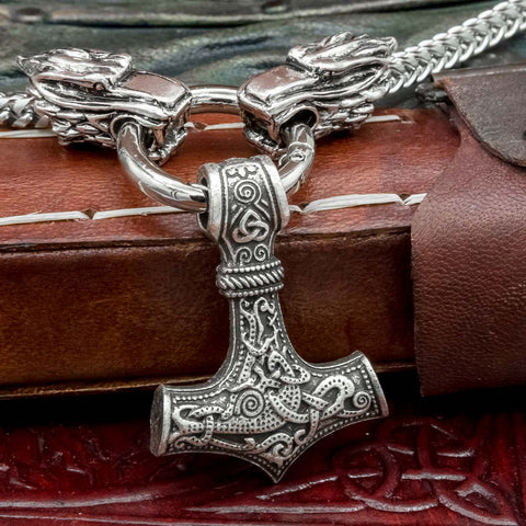 Stainless Steel Thor's Hammer Wolf Chain