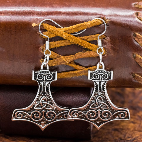 viking trinity knot thors hammer mjolnir earrings