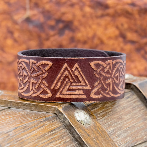 brown leather viking valknut wrist cuff bracelet