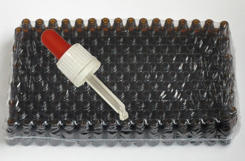 10 ml Amber brown glass bottles with pipette - 192 pieces