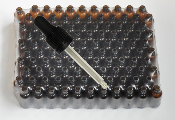 30 ml Amber brown glass bottles with black pipette - 110 pieces
