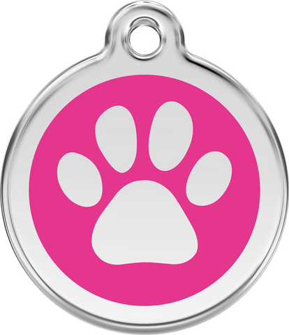 Red Dingo Enamel Dog Tag - Paw Print