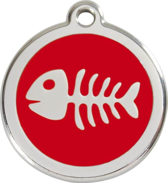 Red Dingo Enamel Dog Tag - Fish Bone