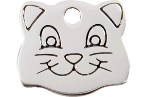 "Red Dingo Stainless Steel ""Cat Face"" Pet Tag"