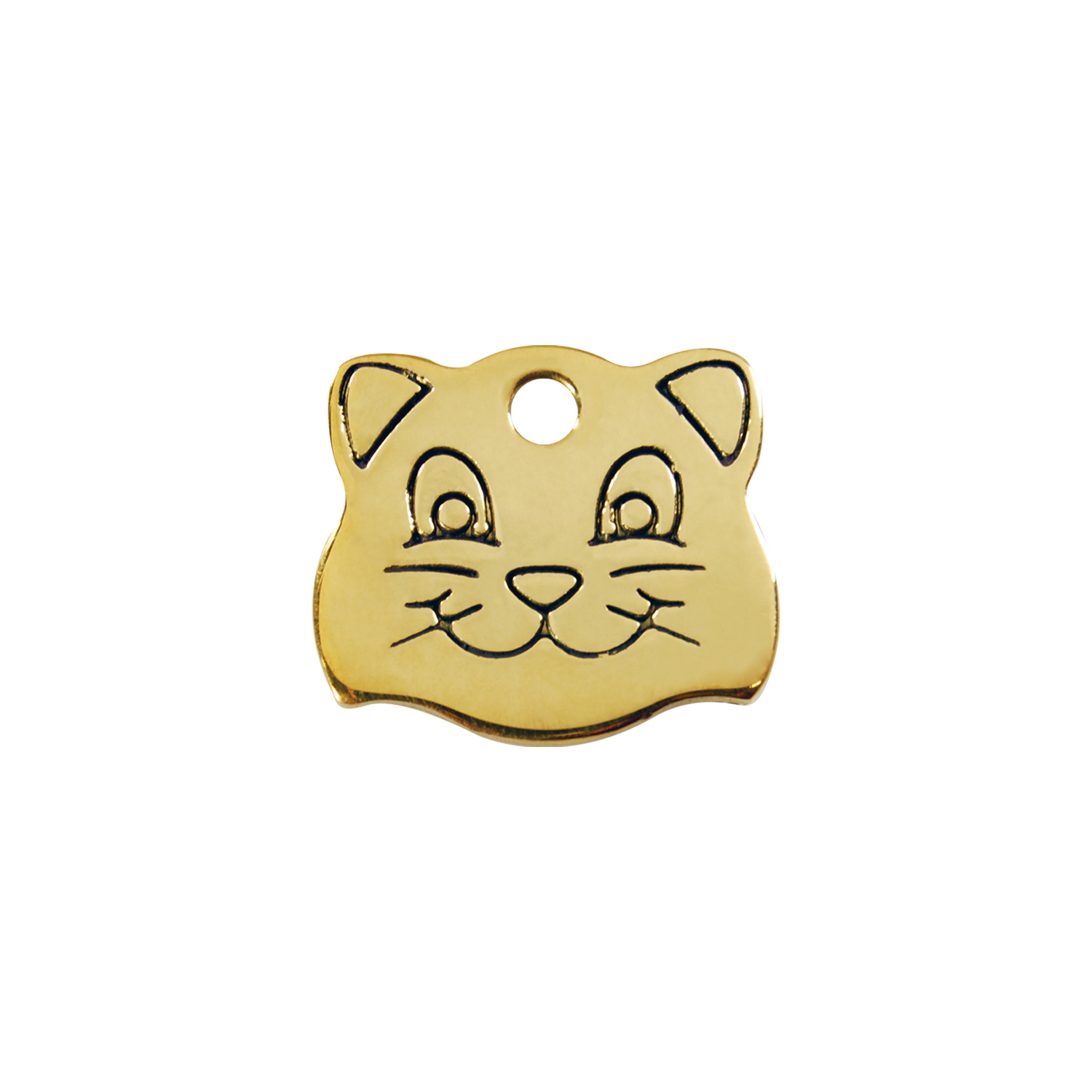 "Red Dingo Brass ""Cat Face"" Pet Tag"