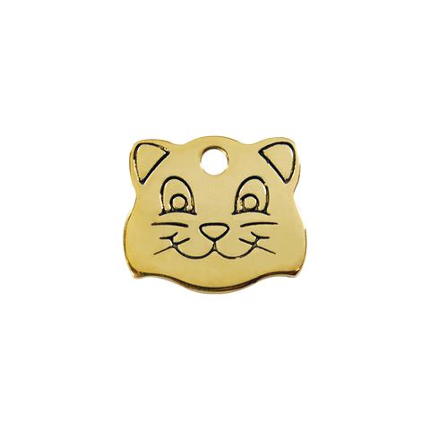 "Red Dingo Brass ""Cat Face"" Tag"