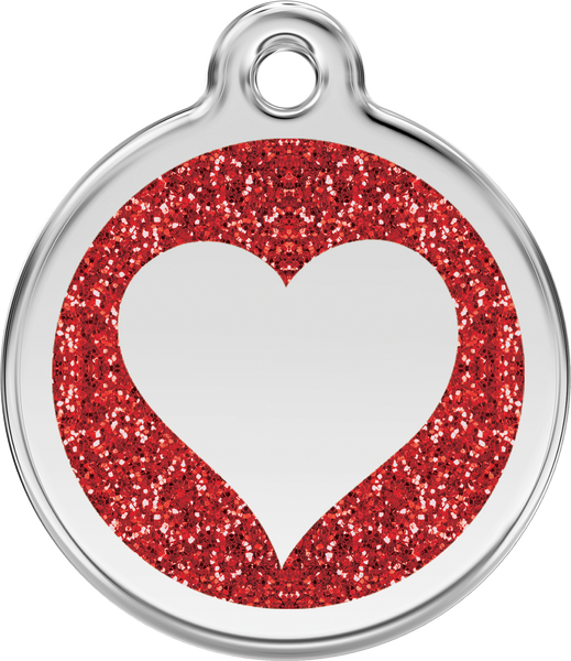Red Dingo Heart Glitter Dog Tag