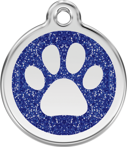 Red Dingo Paw Prints Glitter Pet Tag