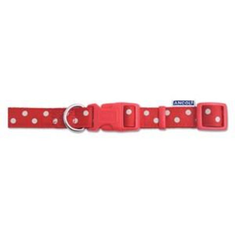 Ancol Vintage Red Polka Dot Nylon Dog Collar - Pica's Pets