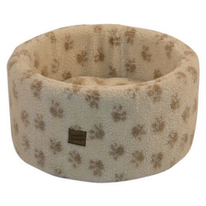 Danish Designs Paw Print Cream Cat Cosy Bed