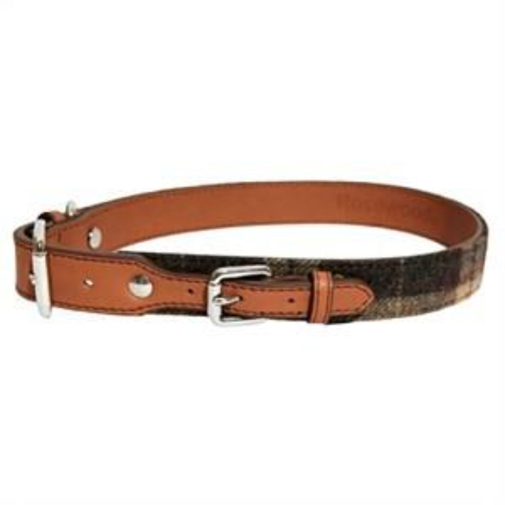 Tweed Check Leather Collar - Pica's Pets