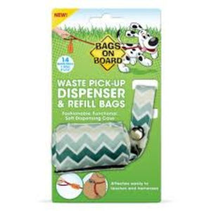 Bags On Board Fashion Fabric Dispenser Chevron Green Pattern 14 Bags - Pica's Pets